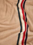 Stripe Print Acrylic Scarf, Black