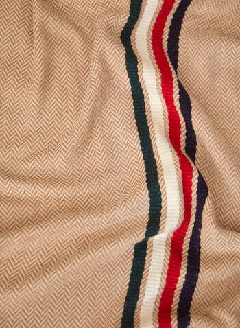 Foulard à motif jacquard et rayures, Noir,  accessoires, foulard, forme rectangulaire, ourlet effiloché, rayures, couleurs variées, motif jacquard, doux, acrylique, automne hiver 2021