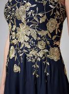 Cachet - Robe à corsage brodé et maille filet, Bleu, hi-res