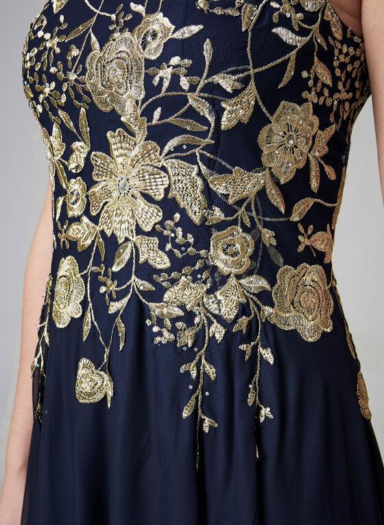 Cachet - Robe à corsage brodé et maille filet, Bleu