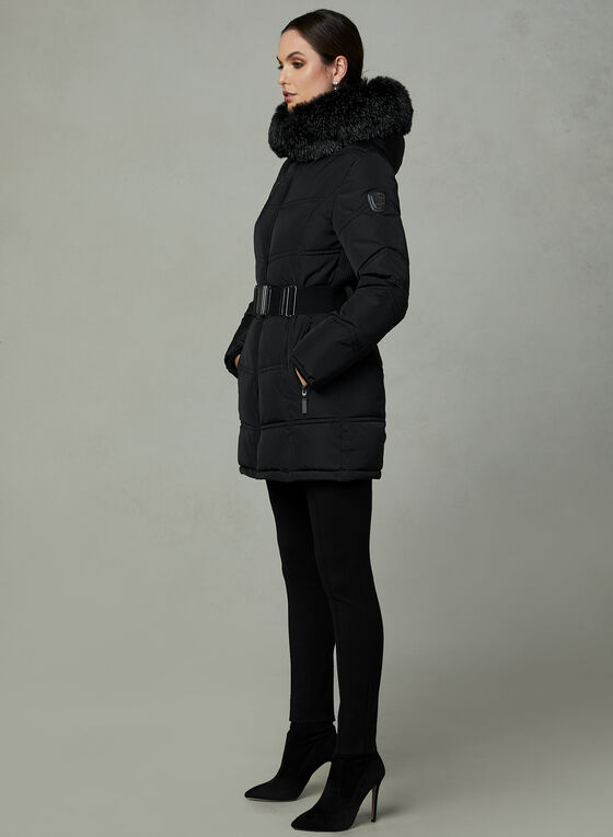 Northside - Belted Faux Down Coat, Black, hi-res