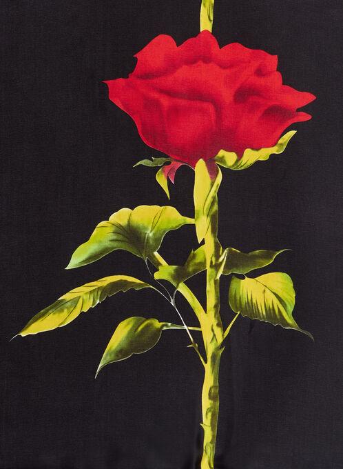 Foulard oblong léger à motif de roses, Noir, hi-res