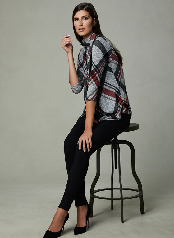 Frank Lyman - Plaid Print Cardigan, Grey, hi-res