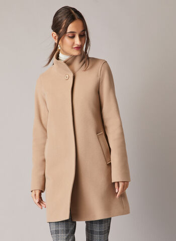 Mallia - Wool & Cashmere Blend Coat, Brown,  coat, high collar, pockets, wool, cashmere, fall winter 2020