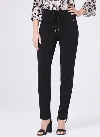 Straight Leg Drawstring Pants, Black, hi-res