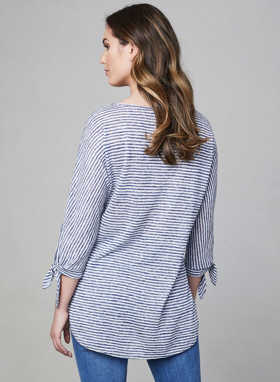 Pure Essence - Stripe Print ¾ Sleeve Top, Blue, hi-res