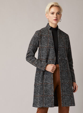 Herringbone Print Wool Blend Coat, Grey,  Wool, coat, buttons, pockets, Fall 2020