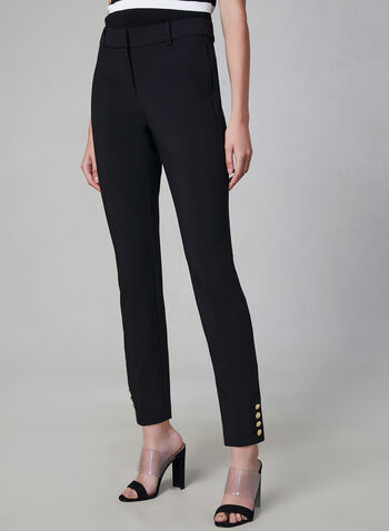 Giselle Fit Slim Leg Pants, Black, hi-res,  button detail, fall 2019, winter 2019