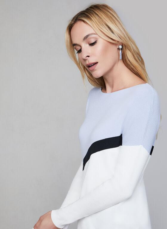 Colour Block Knit Sweater, Blue, hi-res