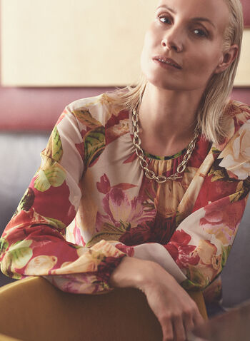 Floral Print Chiffon Blouse, White,  top, blouse, floral, chiffon, bubble sleeve, round neck, keyhole, spring summer 2021