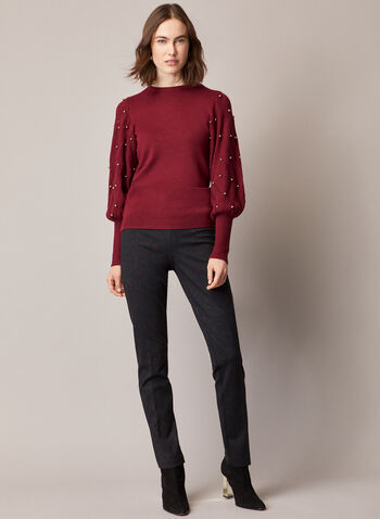 Paisley Print Madison Pants, Black,  pants, paisley, pull-on, slim leg, madison, ponte di roma, fall winter 2020