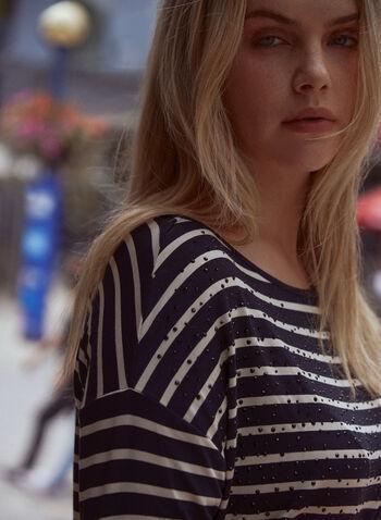 Haut à rayures et détails cloutés, Noir,  haut, t-shirt, chandail, encolure bateau, manches 3/4, épaules tombantes, détails cloutés, motif, rayures, automne hiver 2021
