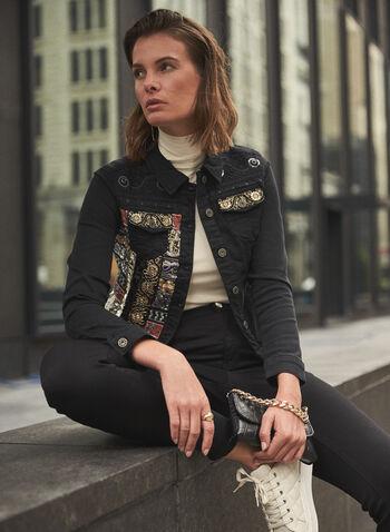 Veste en jean à bandes décoratives , Noir,  automne hiver 2020, veste, jean, denim, manches longues, col à revers, boutons, bandes, décoratives, broderies, brodé