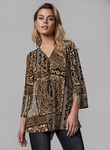 Joseph Ribkoff - Animal Print Top, Black, hi-res,  fall winter 2019, made in Canada, leopard print