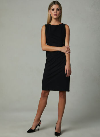 Studded Sleeveless Sheath Dress, Black, hi-res