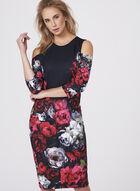 Jax - Robe fourreau motif floral et épaules dénudées, Multi, hi-res