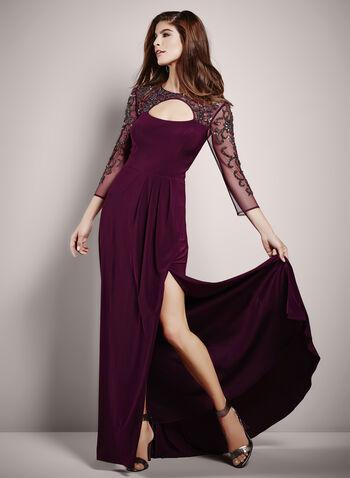 ¾ Sleeve Beaded Mesh Yoke Gown, Purple, hi-res