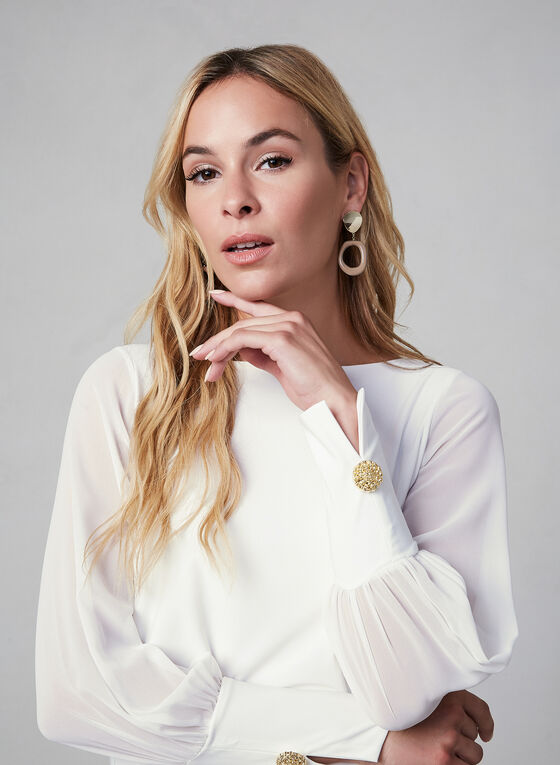 Cuff Sleeve Blouse, Off White, hi-res