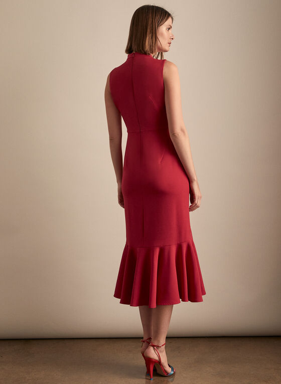 Maggy London - Ruffle Hem Crepe Dress, Red