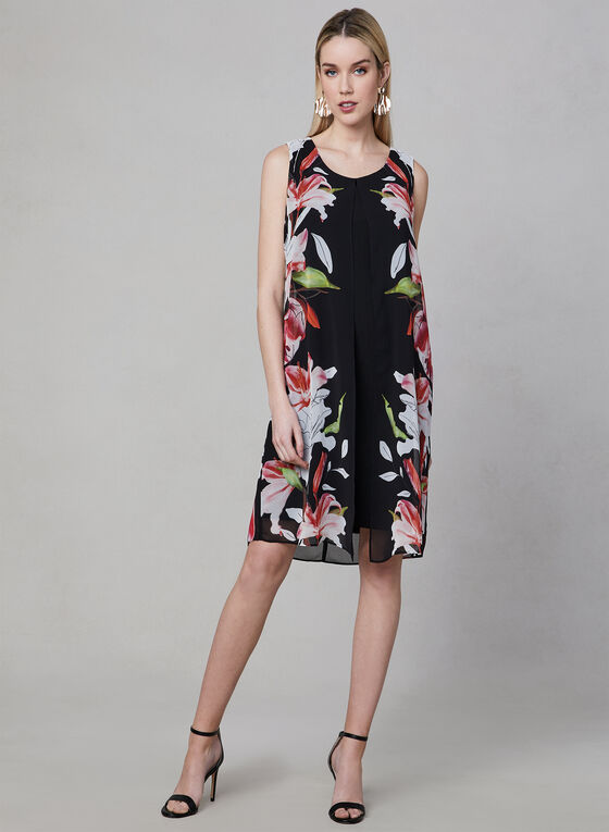 Floral Print Chiffon Overlay Dress, Black