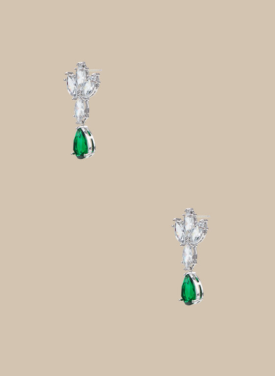 Crystal & Rhinestone Dangle Earrings, Green