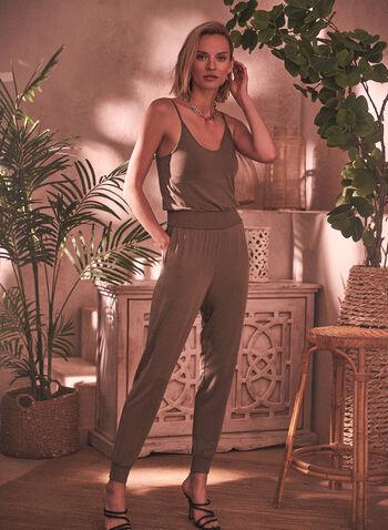 Sleeveless Plunging Neckline Jumpsuit, Green,  spring summer 2021, jumpsuit, pull on, plunging neckline, sleeveless, thin straps, spaghetti straps, fitted waist, elastic waist, elastic cuffs, slim leg, pockets