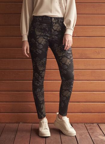 Jeans étroit à imprimé floral, Noir,  automne hiver 2020, jeans, denim, jambe étroite, taille mi-haute, motif, fleurs, fleuri, floral, poches