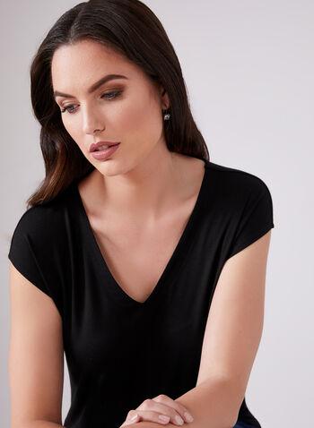 Haut à col V en jersey, Noir, hi-res