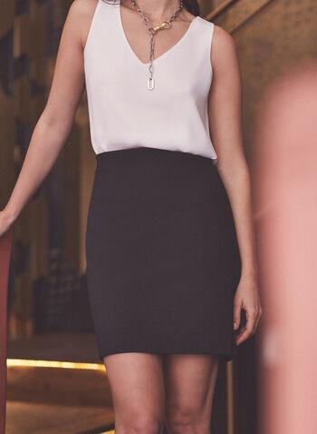 Short Pencil Skirt, Black,  spring summer 2020, short, ponte de roma, pull-on, made in canada