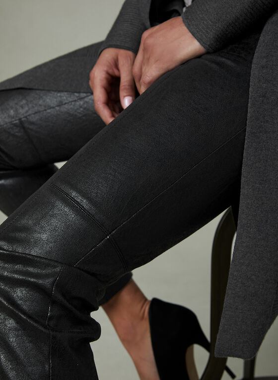Distressed Faux Leather Pants, Black, hi-res