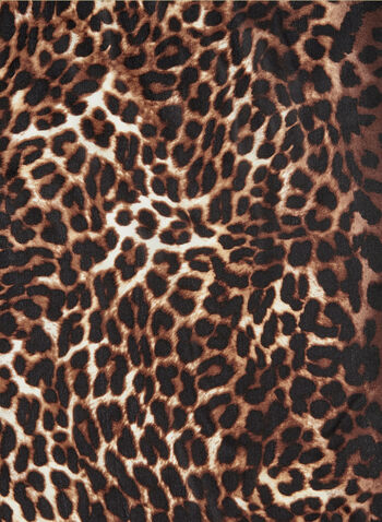 Leopard Print Silk Scarf, Brown, hi-res