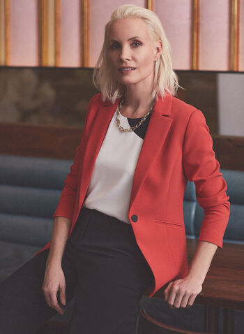Notch Collar Single Button Jacket, Orange,  jacket, blazer, long sleeves, tailored blazer, suit, spring summer 2021