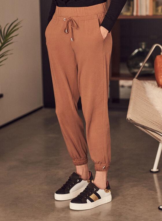 Toggle Detail Jogger Pants, Brown
