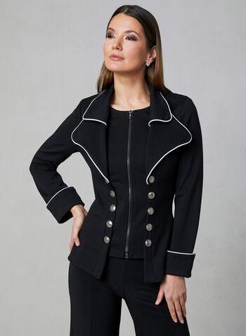 Joseph Ribkoff - Military-Inspired Jacket, Black, hi-res
