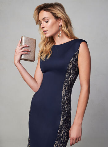 Eliza J - Lace Detail Dress, Blue, hi-res,  fall winter 2019, evening, dress, long, gown, mermaid, sleeveless