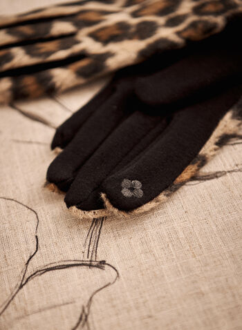 Leopard Print Gloves, Black,  fall 2021, accessory, accessories, gloves, glove, leopard, animal, print, pattern, design, polyester, cotton, blend