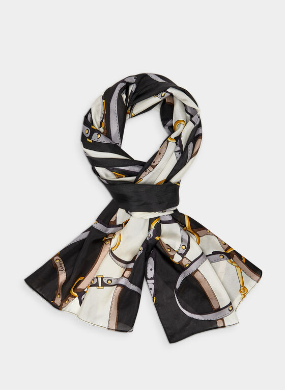 Silk Belt Print Scarf, Black, hi-res