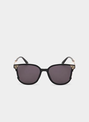 Metallic Detail Sunglasses, Black, hi-res
