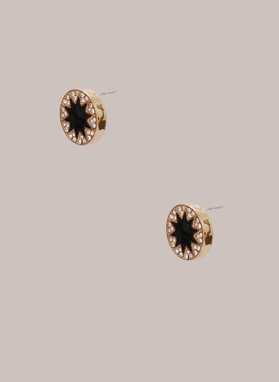 Boucles d'oreilles étoilées à cristaux, Noir