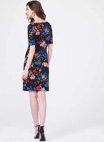 Floral Print Short Sleeve Sheath Dress, Black, hi-res