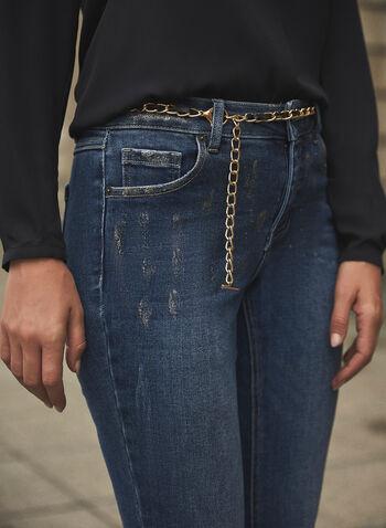 Jeans à jambe étroite avec chaîne , Bleu,  printemps été 2021, jeans, denim, doré, chaîne, ceinture, doré, amovible, jambe étroite, taille haute