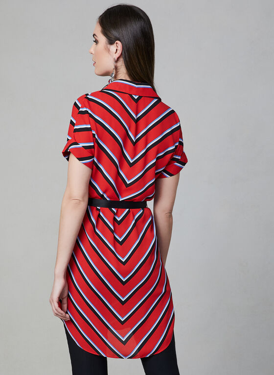 Mitred Stripe Tunic Blouse, Red, hi-res