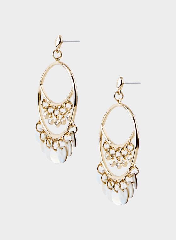 Shell Fringe Hoop Earrings, Off White, hi-res