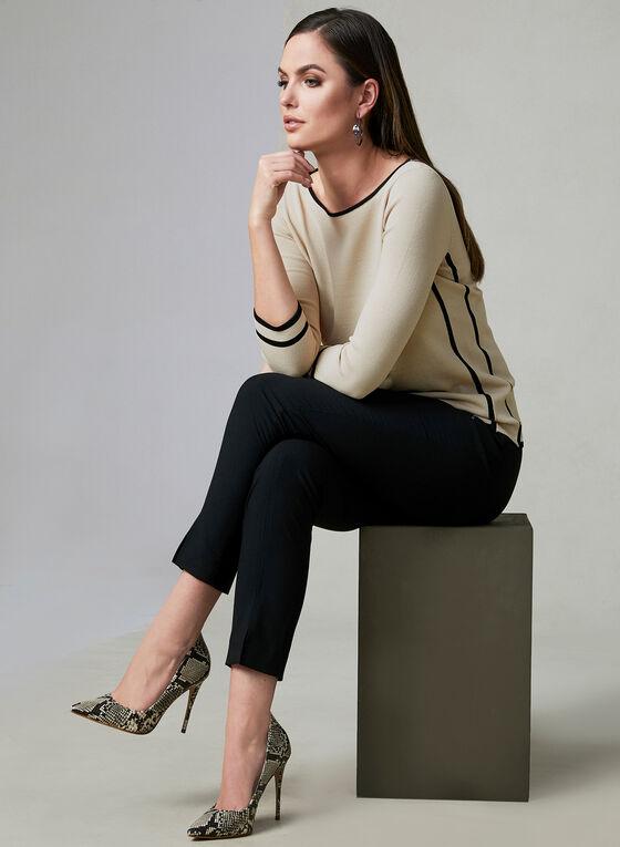 Pull à manches ¾ et bordures contrastantes, Blanc cassé, hi-res