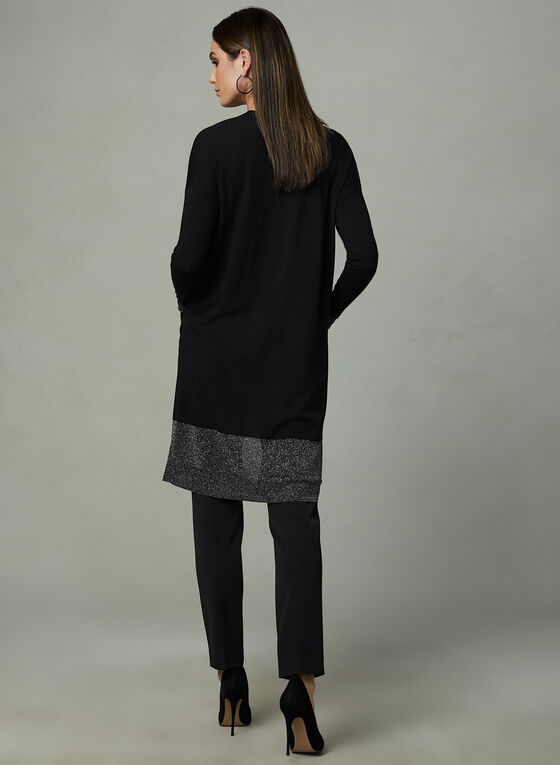 Metallic Trim Cardigan, Black, hi-res