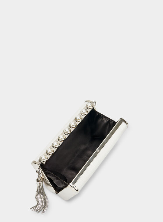 Pearl Detail Clutch, Silver, hi-res
