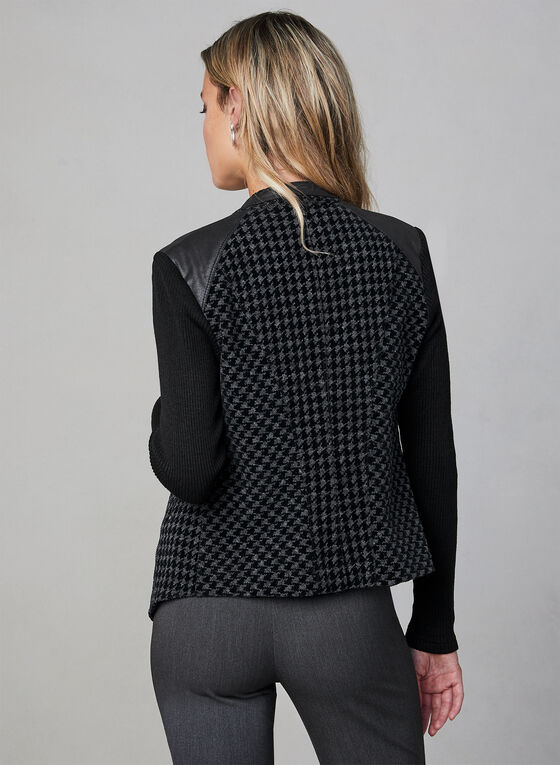 Vex - Houndstooth Open Front Jacket , Black
