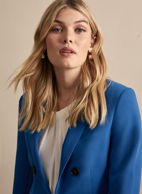 Notch Collar Topstitch Detail Blazer, Blue