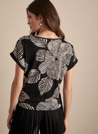 Frank Lyman - Tie Detail Floral Top, Black