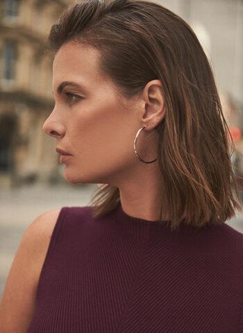 Boucles d'oreilles à anneaux torsadés, Argent,  accessoires, bijoux, boucles d'oreilles, anneaux, effet torsadé, doré, automne hiver 2021